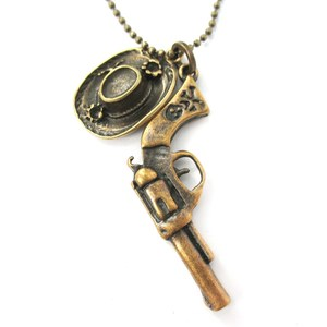 Cowboy Hat and Pistol Western Film Themed Pendant Necklace in Bronze