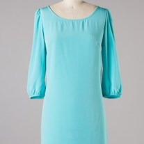 Baby Blue Aqua Mint Zippered A-Line Shift 3/4 Sleeve Dress SML