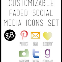 Faded Social Media Icons Set