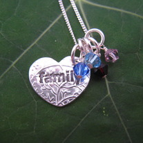 Family Heart Necklace with 4 Birthstones