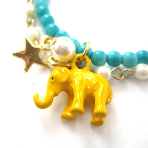 Elephant Animal Stretchy Bracelet in Bright Yellow on Turquoise