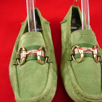 GUCCI HORSEBIT BUCKLE Green'ish DRIVING SHOES SZ 37.5 D