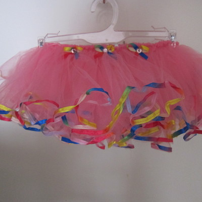 Fuschia  tutu w/ rainbow ribbon trimming