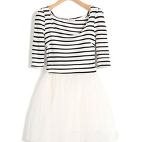 Stripe Dress Mesh Skirt