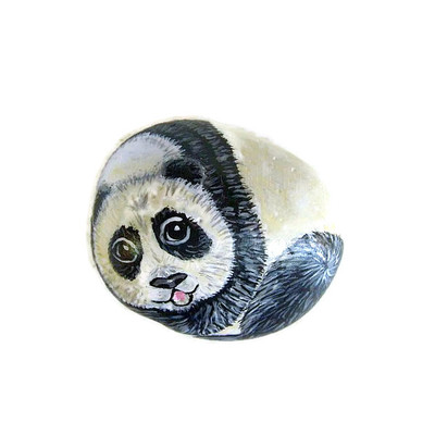 Small panda hand-painted rock - free usa shipping