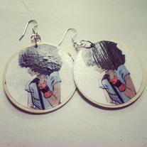 Afro Wood Singer Earrings