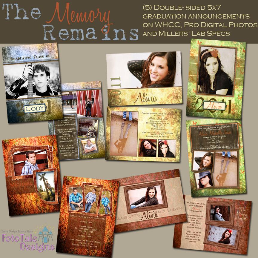 FotoTale Designs   The Memory Remains Graduation Announcement ...