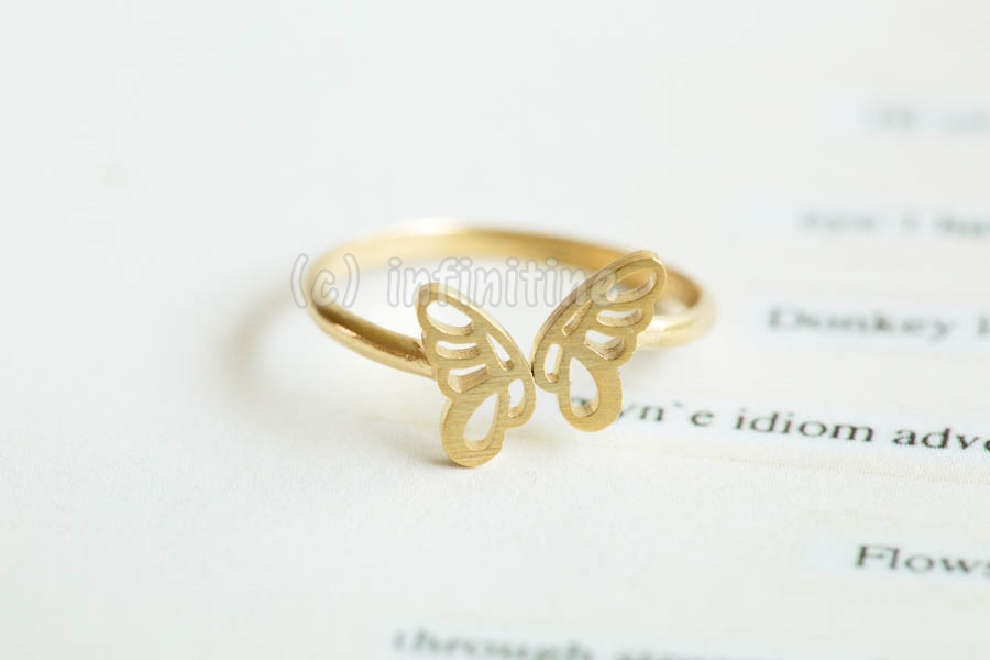 Gold Cute mini butterfly adjustable ring,silver wings,butterfly ...