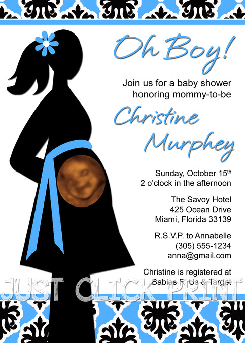 oh boy or oh girl baby shower ultrasound invitation