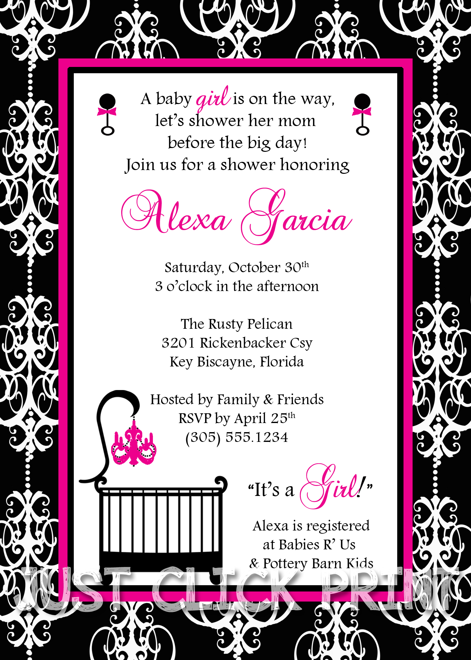 Classic Damask Baby Girl Shower Invitation Printable Any Color ...