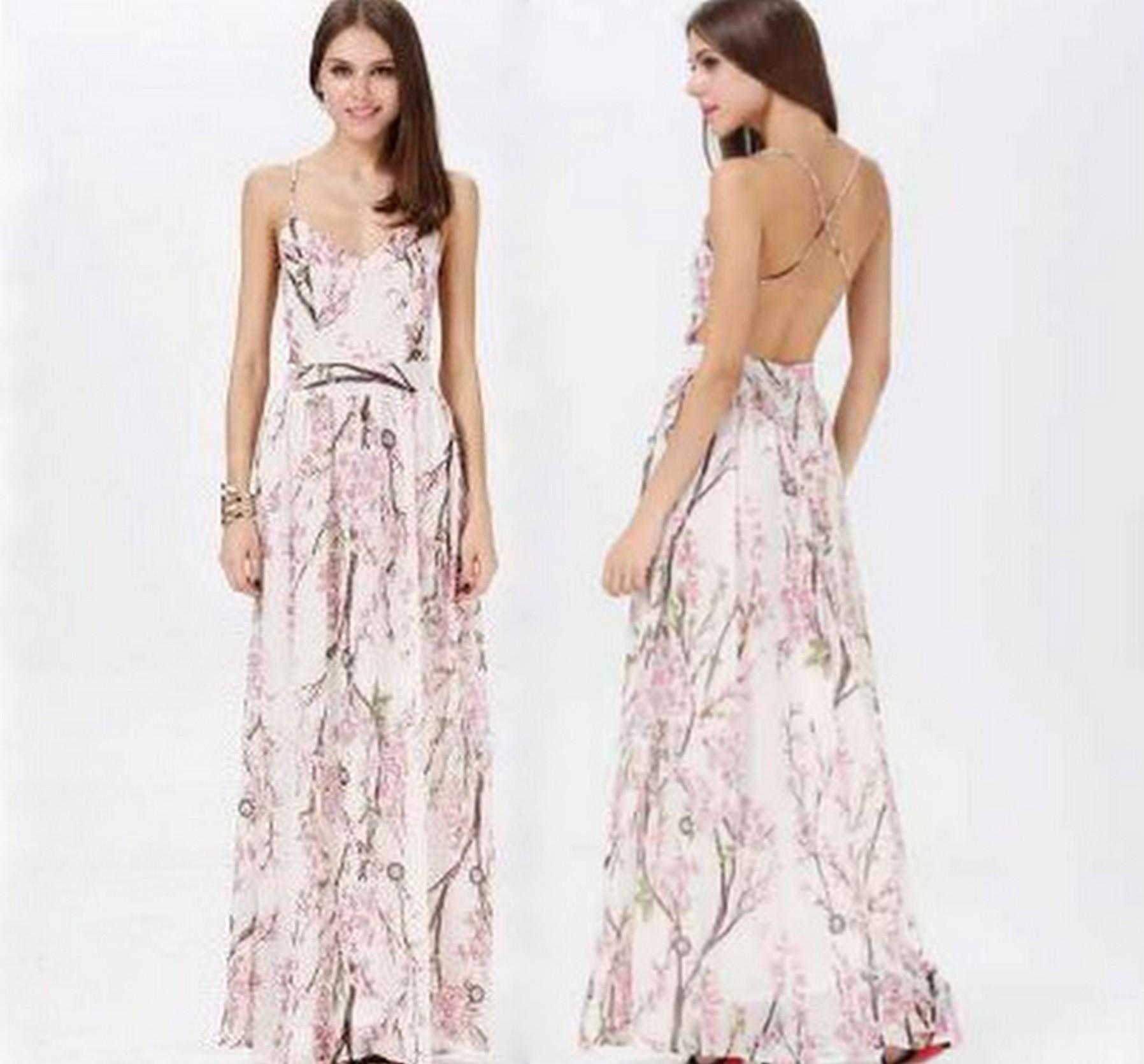 Cherry Blossom Floral Print Backless Maxi Dress · Fashion Struck ...