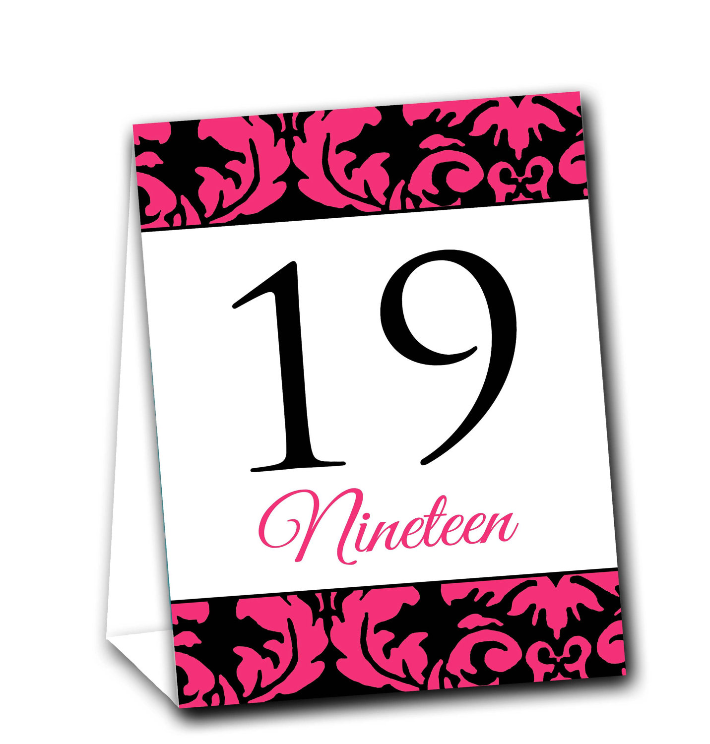 Riledesigns elegant damask table tent numbers online for Table design numbers