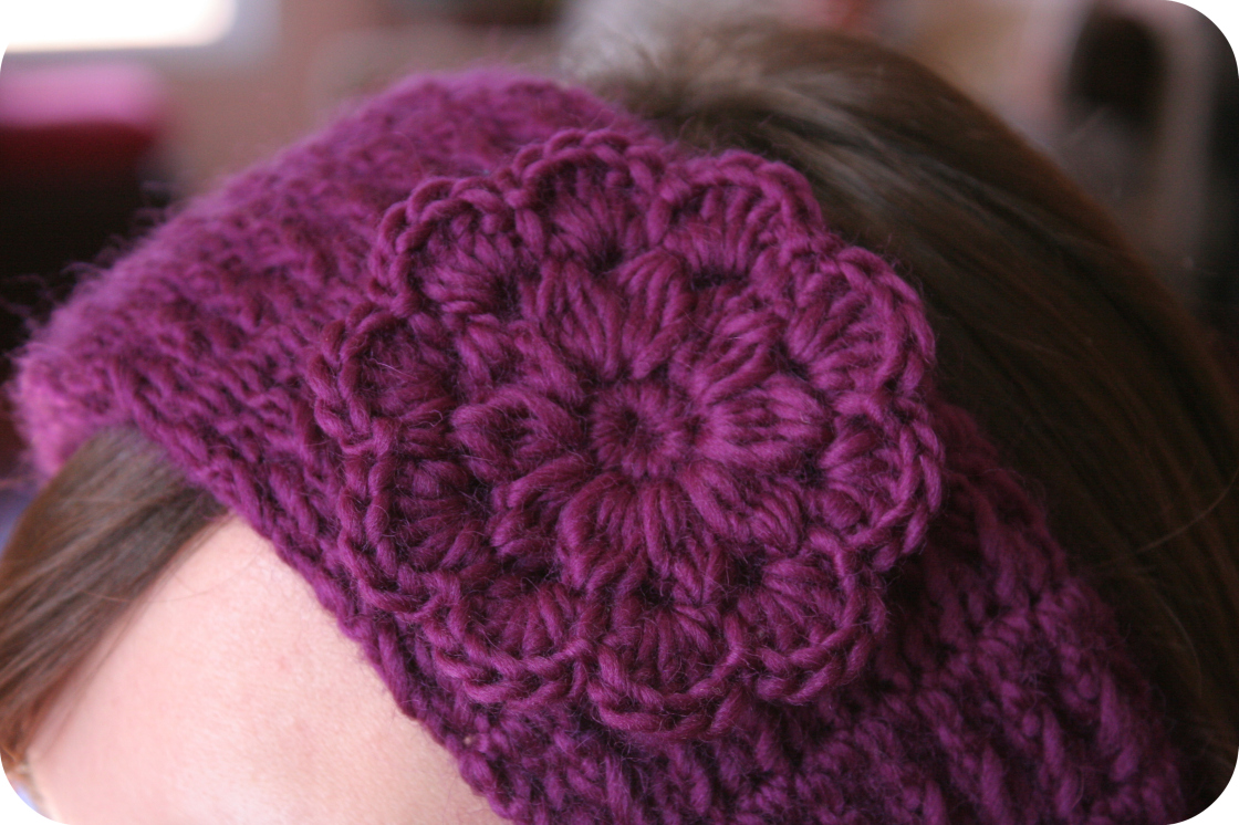 Crochet Pattern For A Flower Headband : Crochet Pattern HEADBAND Women Hat PDF Pretty Flower The ...