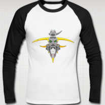 """TOTEM (Eye Gaze)"" Raglan Shirt for Men (Black/White)"