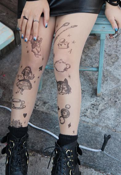 Alice In Wonderland Tattoo Stockings Tights On Storenvy