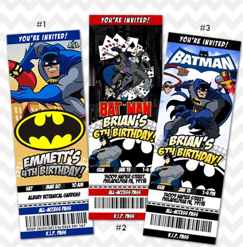 Batman Invitation Birthday Invites
