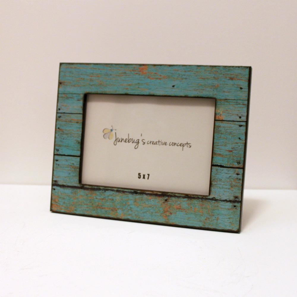 5x7 Wood Photo Frame Weathered Rustic Turquoise · Junebug\'s Creative ...