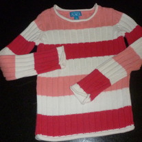 Pink/White Striped Sweater-The Children's Place Size Small 5/6