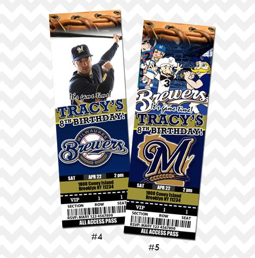 Milwaukee Brewers Invitation Baseball Ticket Invite On