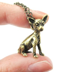 3D Realistic Chihuahua Animal Charm Dog Breed Inspired Necklace in Brass