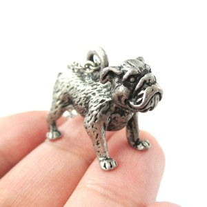 3D Realistic Bulldog Puppy Dog Lover Animal Charm Necklace in Silver