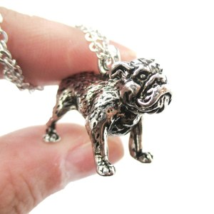 3D Realistic Bulldog Puppy Dog Lover Animal Charm Necklace in Shiny Silver
