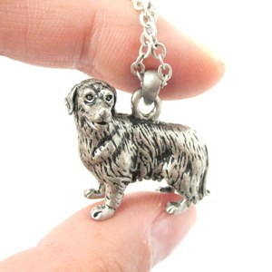 3D Realistic Golden Retriever Animal Dog Breed Charm Necklace in Silver