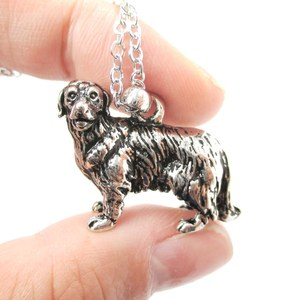 3D Realistic Golden Retriever Animal Dog Breed Charm Necklace in Shiny Silver