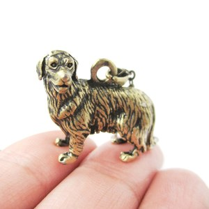 3D Realistic Golden Retriever Animal Dog Breed Charm Necklace in Brass