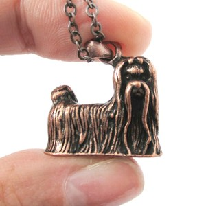 3D Realistic Maltese Animal Dog Breed Charm Necklace in Copper