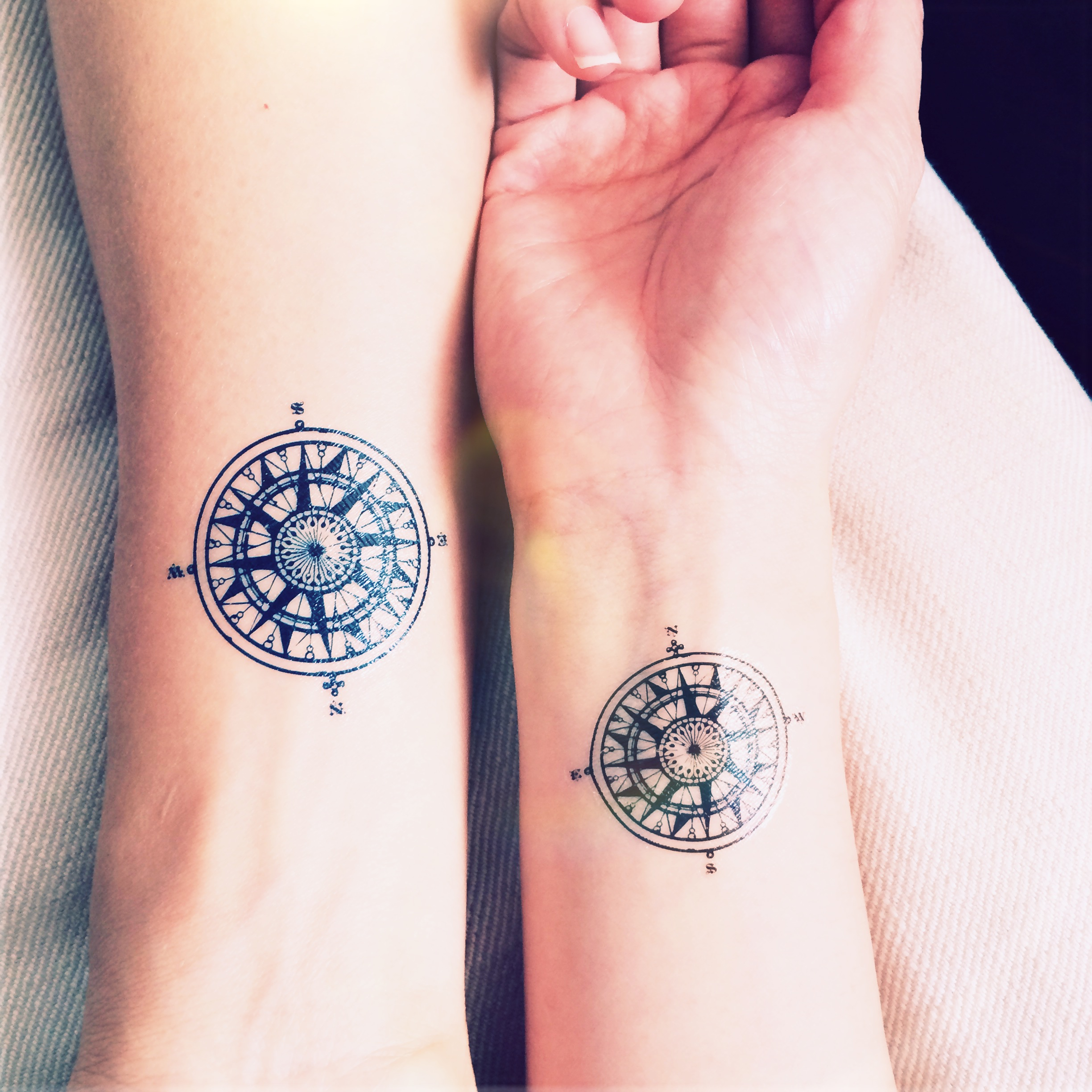 2pcs Vintage Compass Tattoo Travel