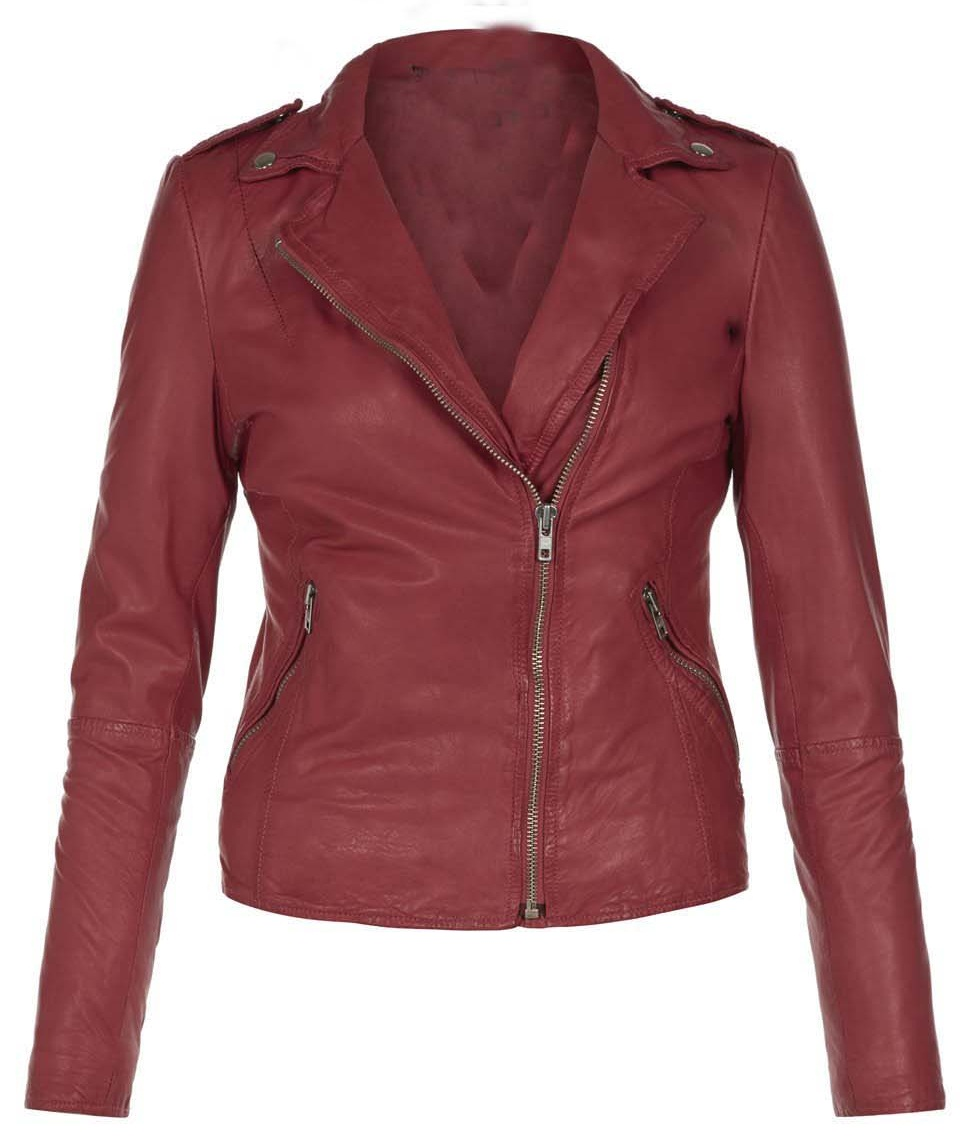 WOMEN'S LEATHER JACKET, WOMENS MAROON COLOR LEATHER JACKET ...