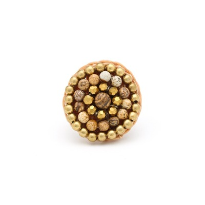 Beaded boho ring - brown