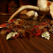 MultiStrand Fall Colors Owl Necklace