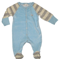 Coccoli Infant Velour Footie Pajamas- Blue