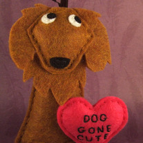 Dog Gone Cute - Valentine's Day Felt Ornament - Cinnamon the Golden Retriever