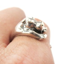 Realistic Hippo Animal Wrap Around Hug Ring In Solid 925 Sterling Silver - US Sizes 4 To 8.5