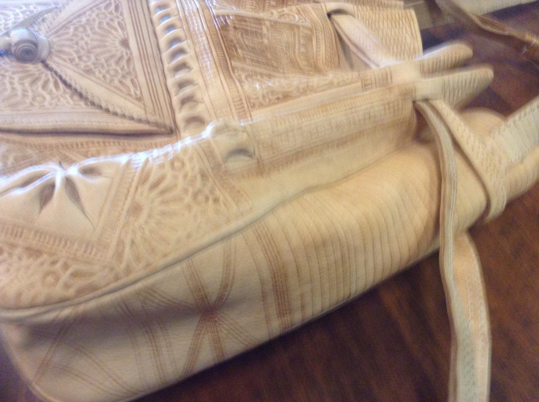 Moroccan tribal natural embossed leather handbag for Furniture bazaar