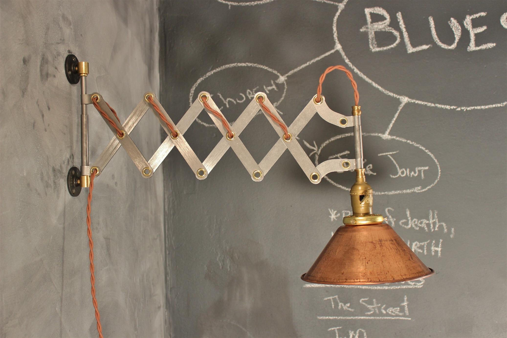 ... Vintage Industrial Scissor Sconce   Expandable Accordion Lamp    Thumbnail 4