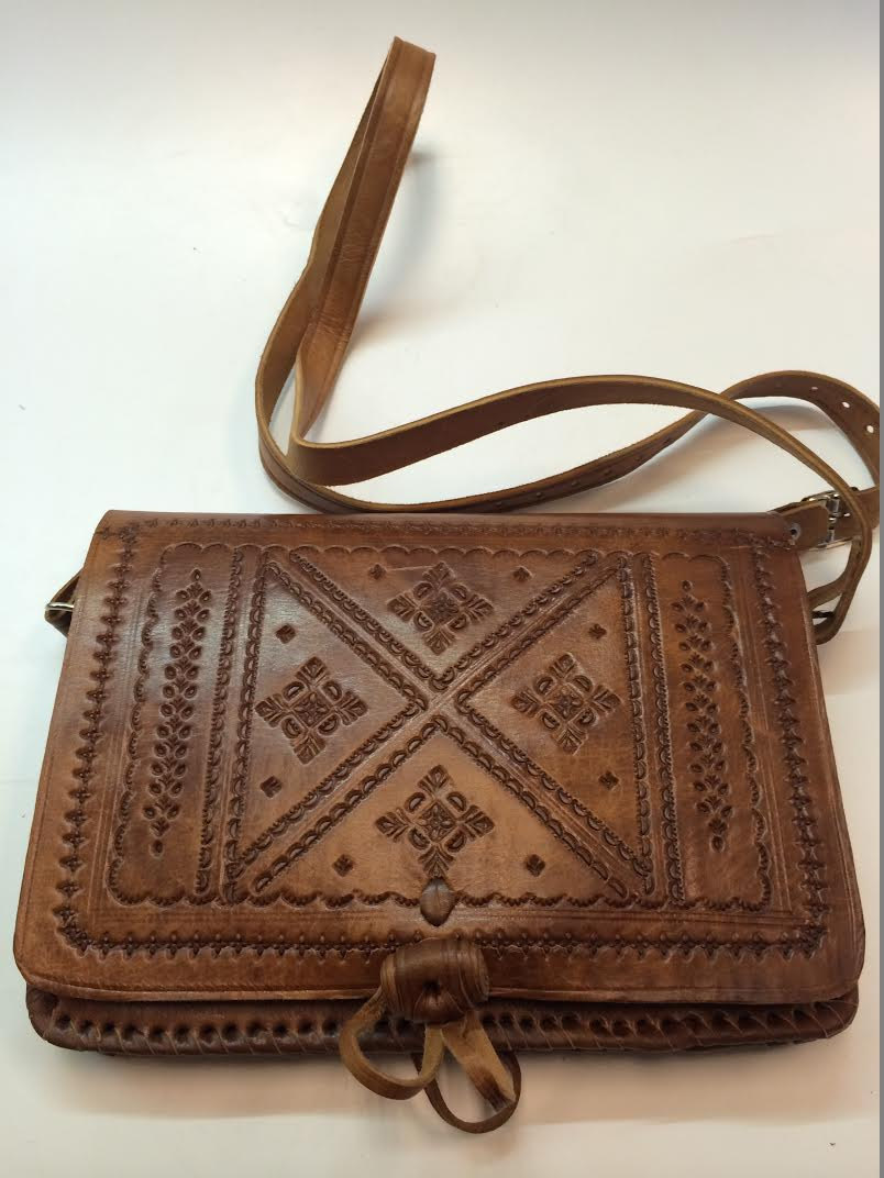Moroccan 100 Embossed Tan Thick Leather Hand Made Bag Cross Body