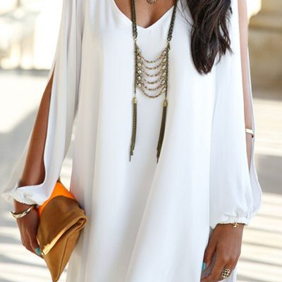Loose-fitting white chiffon dress