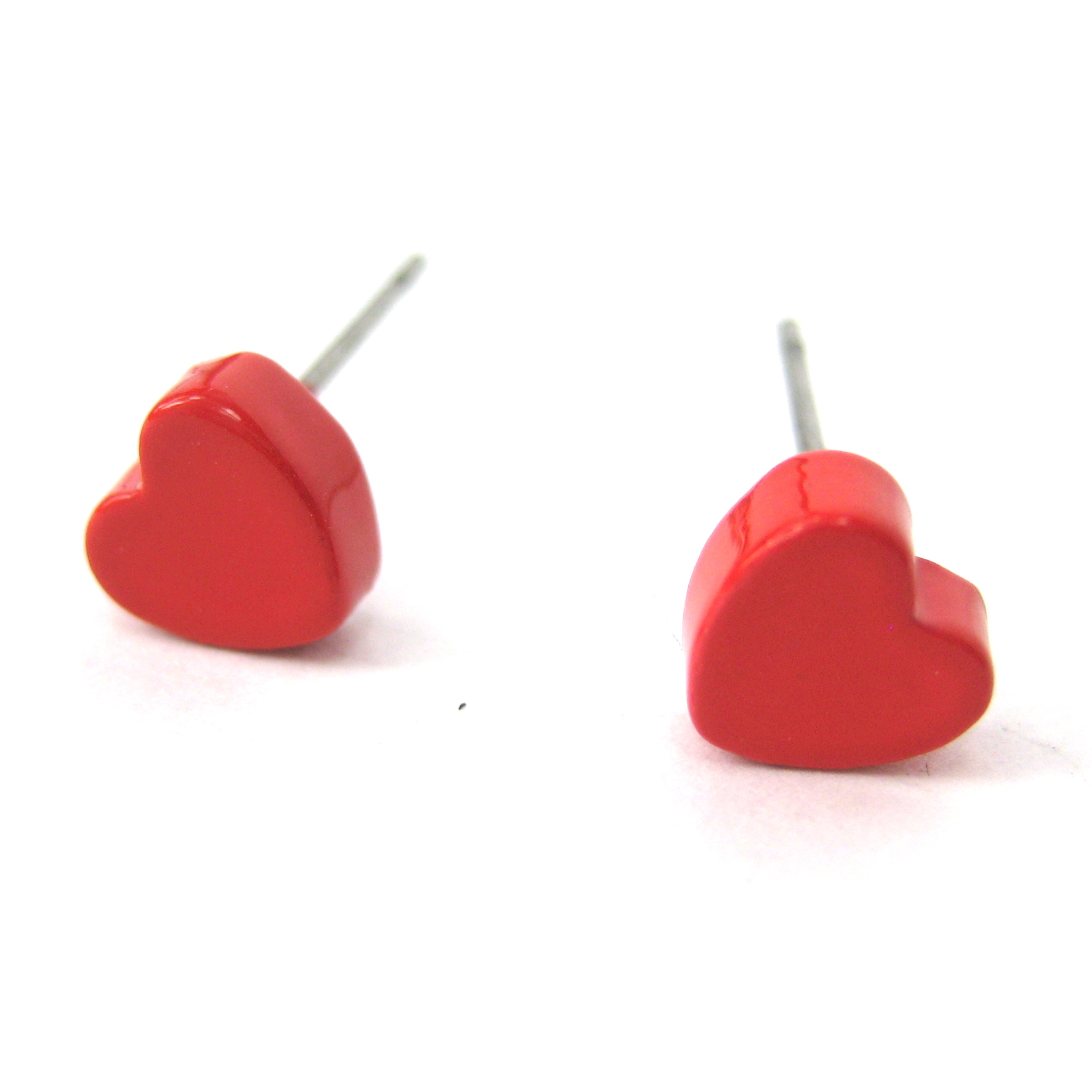 Small Simple Red Love Heart Shaped Stud Earrings  Thumbnail 1
