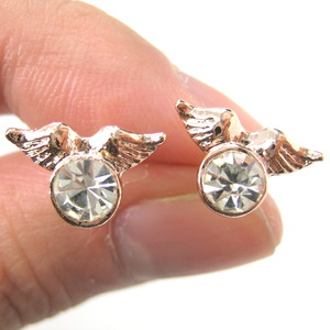 Angel Wings Feather Stud Earrings in Light Gold with Rhinestones