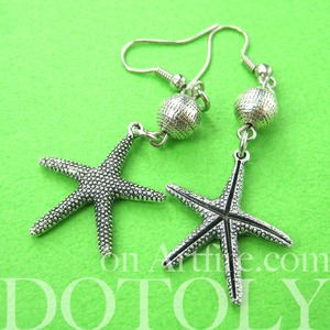 Realistic Starfish Star Shaped Dangle Earrings in Silver