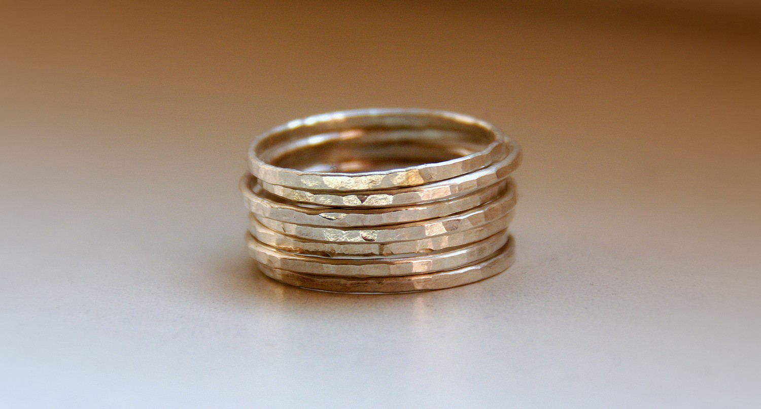 set of 7 sterling silver stack rings textured bands