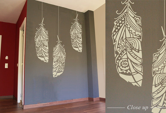 Feathers wall stencil decorative scandinavian large - Stencil patterns for walls ...
