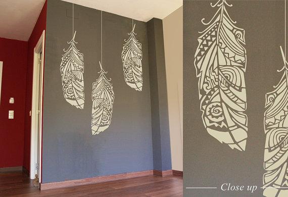 Feathers Wall Stencil Decorative Scandinavian Large