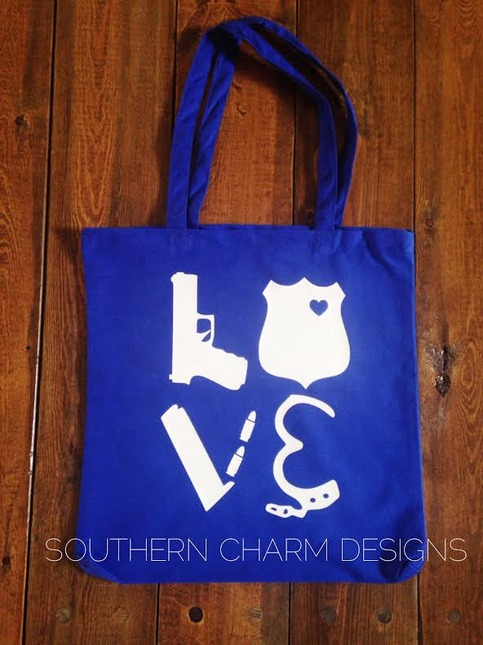 Leo Love Police Gear Canvas Tote Southern Charm Designs