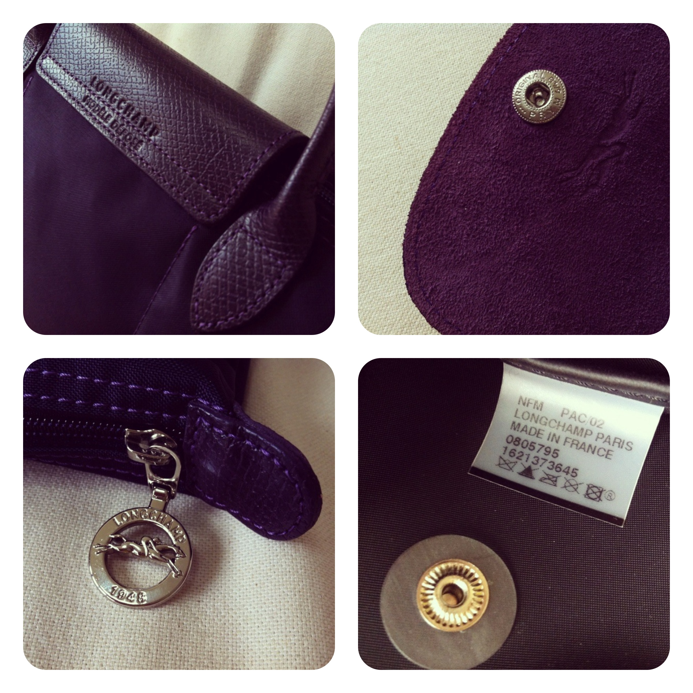 ... LONGCHAMP Small Bilberry Le Pliage Insect Badges Bag - Thumbnail 4 a31e80dbdd423