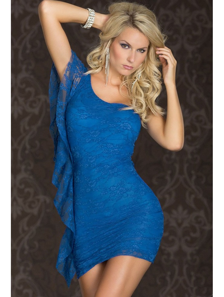 Blue Lace One-Shoulder Mini Dress · Everyday Sweetheart · Online ...